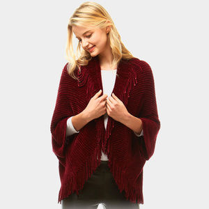 Solid Shrug Fringe Cardigan
